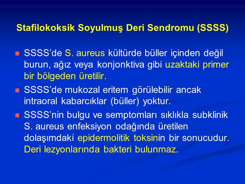 Stafilokoksik Soyulmuş Deri Sendromu (SSSS) SSSS'de S. aureus kültürde büller içinden değil burun, ağız veya konjonktiva gibi uzaktaki primer bir bölg