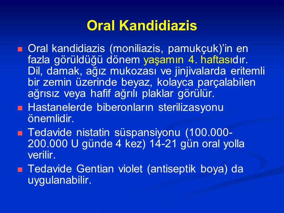 Oral Kandidiazis Oral kandidiazis (moniliazis, pamukçuk)'in en fazla görüldüğü dönem yaşamın 4. haftasıdır. Dil, damak, ağız mukozası ve jinjivalarda