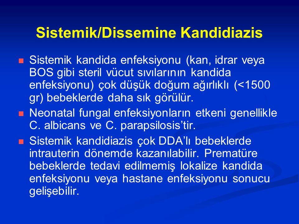 Sistemik/Dissemine Kandidiazis Sistemik kandida enfeksiyonu (kan, idrar veya BOS gibi steril vücut sıvılarının kandida enfeksiyonu) çok düşük doğum ağ