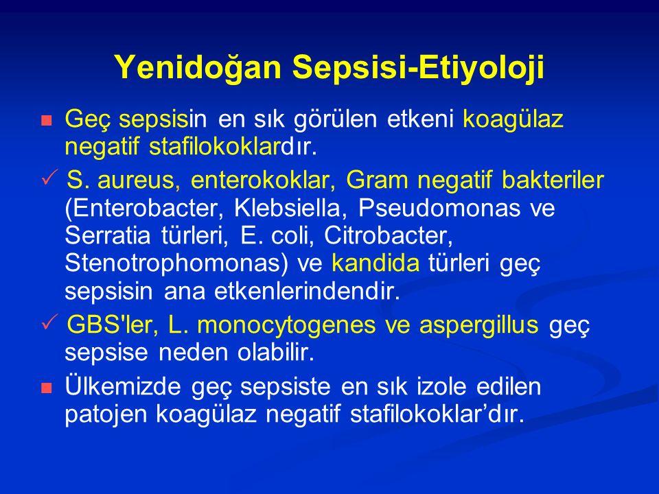 Yenidoğan Sepsisi-Etiyoloji Geç sepsisin en sık görülen etkeni koagülaz negatif stafilokoklardır.  S. aureus, enterokoklar, Gram negatif bakteriler (