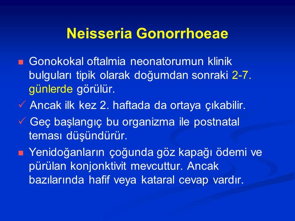 Neisseria Gonorrhoeae Gonokokal oftalmia neonatorumun klinik bulguları tipik olarak doğumdan sonraki 2-7. günlerde görülür.  Ancak ilk kez 2. haftada