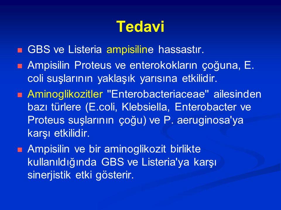 Tedavi GBS ve Listeria ampisiline hassastır. Ampisilin Proteus ve enterokokların çoğuna, E. coli suşlarının yaklaşık yarısına etkilidir. Aminoglikozit
