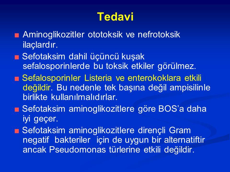 Tedavi ■ Aminoglikozitler ototoksik ve nefrotoksik ilaçlardır. ■ Sefotaksim dahil üçüncü kuşak sefalosporinlerde bu toksik etkiler görülmez. ■ Sefalos