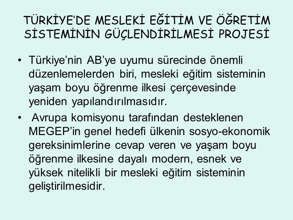 TÜRKİYE'DE MESLEKİ EĞİTİM VE ÖĞRETİM SİSTEMİNİN GÜÇLENDİRİLMESİ PROJESİ Türkiye'nin AB'ye uyumu sürecinde önemli düzenlemelerden biri, mesleki eğitim sisteminin yaşam boyu öğrenme ilkesi çerçevesinde yeniden yapılandırılmasıdır.