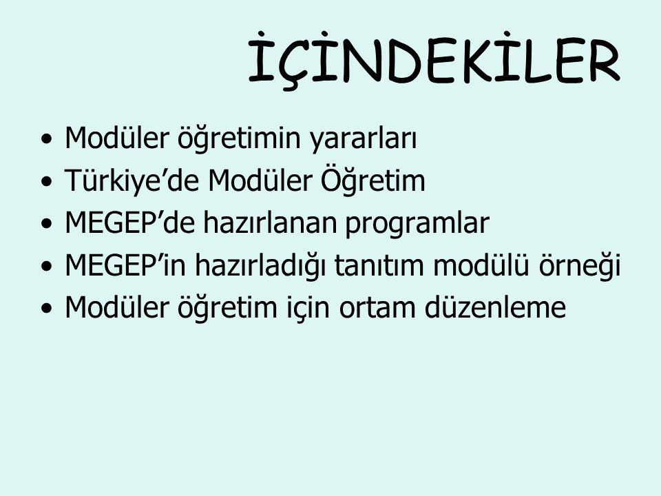 İÇİNDEKİLER Modüler öğretimin yararları Türkiye'de Modüler Öğretim MEGEP'de hazırlanan programlar MEGEP'in hazırladığı tanıtım modülü örneği Modüler öğretim için ortam düzenleme