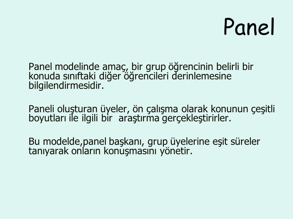 Panel Panel modelinde amaç, bir grup öğrencinin belirli bir konuda sınıftaki diğer öğrencileri derinlemesine bilgilendirmesidir.