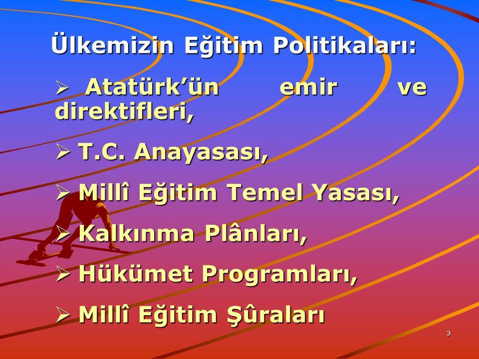 3 Ülkemizin Eğitim Politikaları: Ülkemizin Eğitim Politikaları:  Atatürk'ün emir ve direktifleri,  T.C.