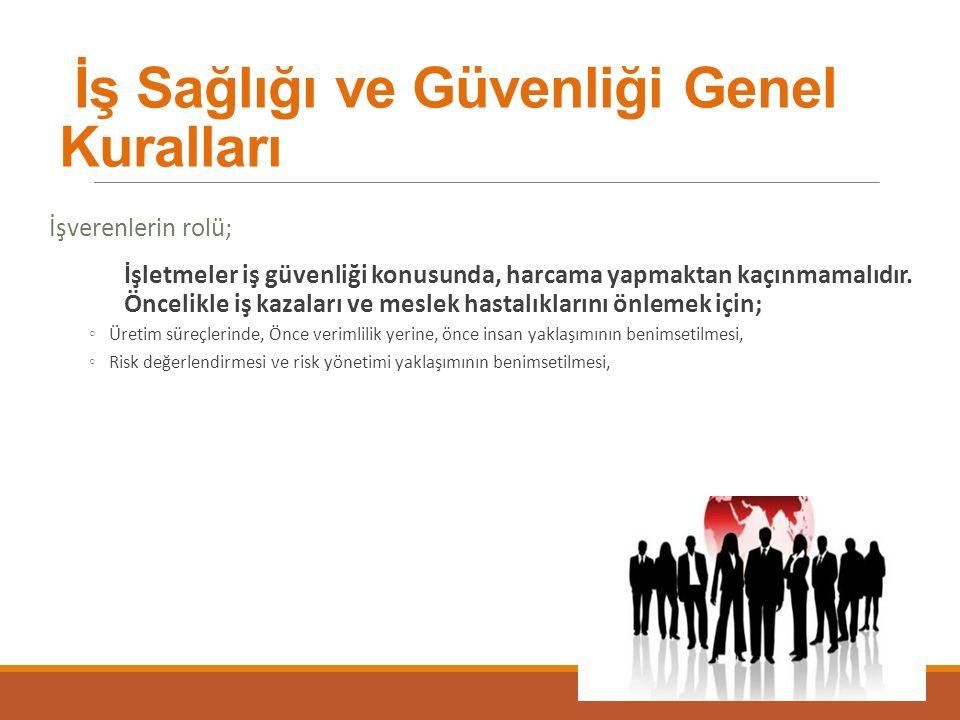 İş Sağlığı ve Güvenliği Genel Kuralları İşverenlerin rolü; İşletmeler iş güvenliği konusunda, harcama yapmaktan kaçınmamalıdır.