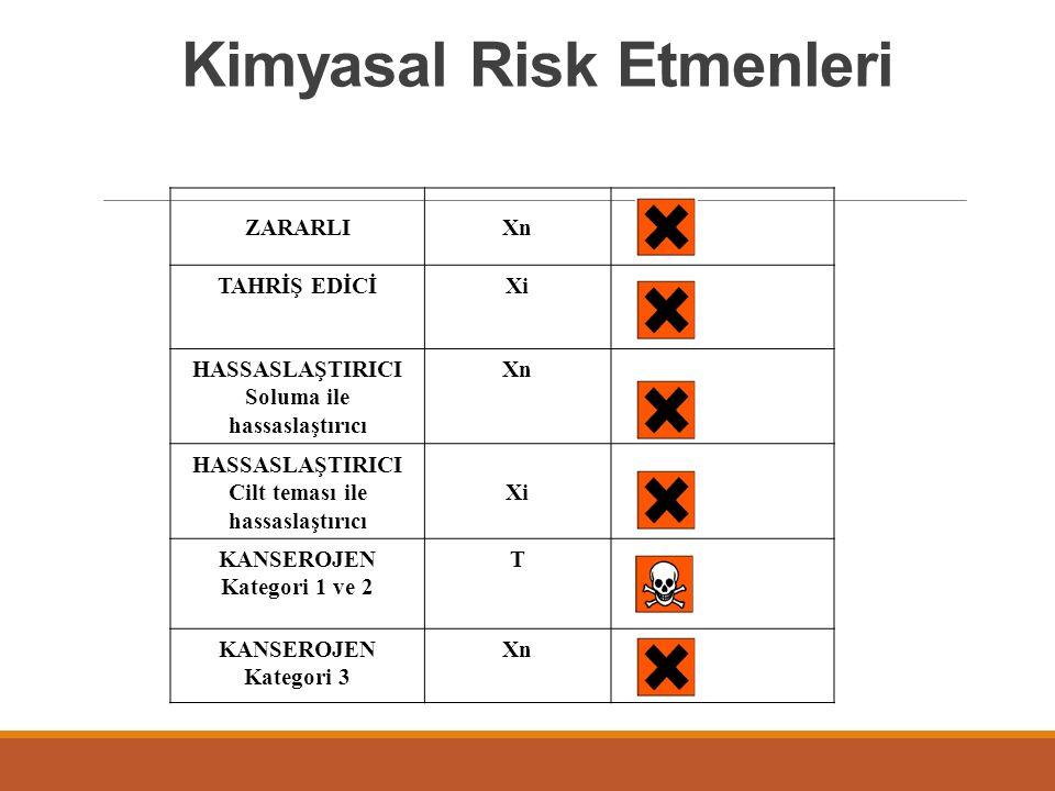 ZARARLIXn TAHRİŞ EDİCİXi HASSASLAŞTIRICI Soluma ile hassaslaştırıcı Xn HASSASLAŞTIRICI Cilt teması ile hassaslaştırıcı Xi KANSEROJEN Kategori 1 ve 2 T KANSEROJEN Kategori 3 Xn Kimyasal Risk Etmenleri