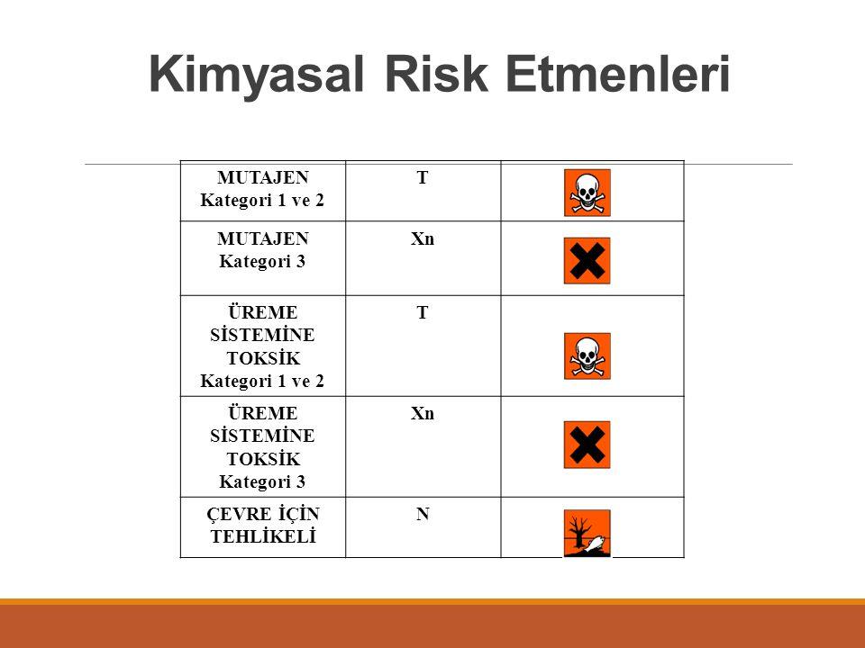 MUTAJEN Kategori 1 ve 2 T MUTAJEN Kategori 3 Xn ÜREME SİSTEMİNE TOKSİK Kategori 1 ve 2 T ÜREME SİSTEMİNE TOKSİK Kategori 3 Xn ÇEVRE İÇİN TEHLİKELİ N Kimyasal Risk Etmenleri
