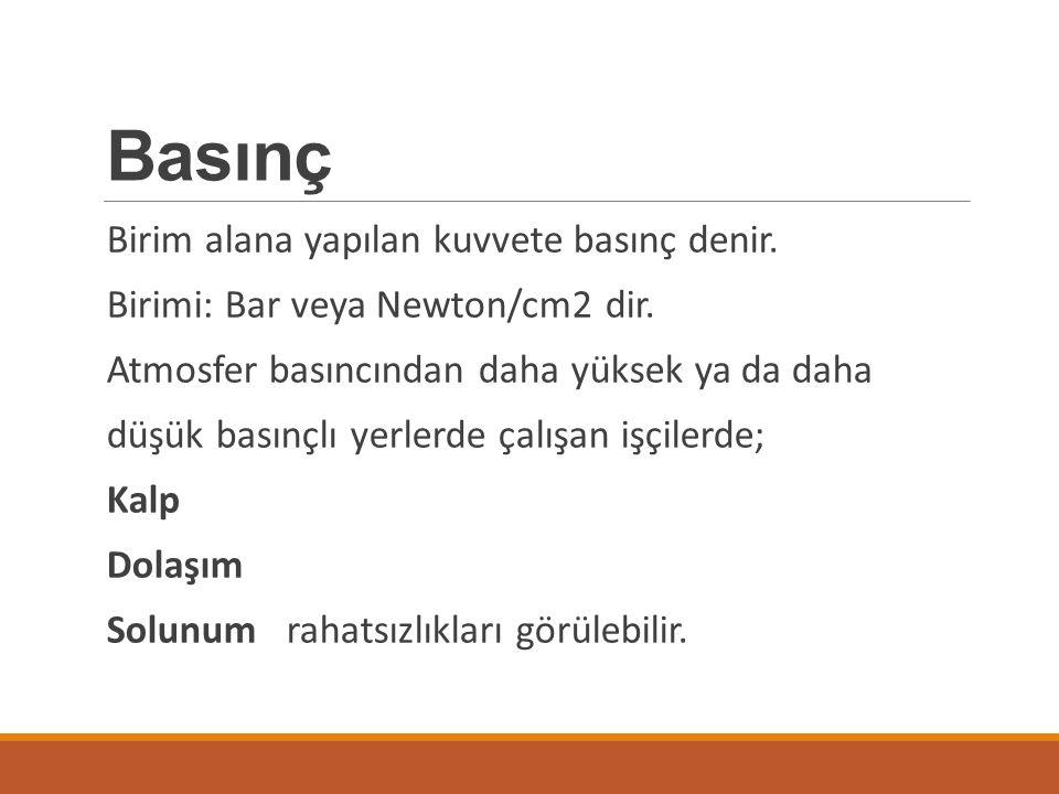 Basınç Birim alana yapılan kuvvete basınç denir.Birimi: Bar veya Newton/cm2 dir.