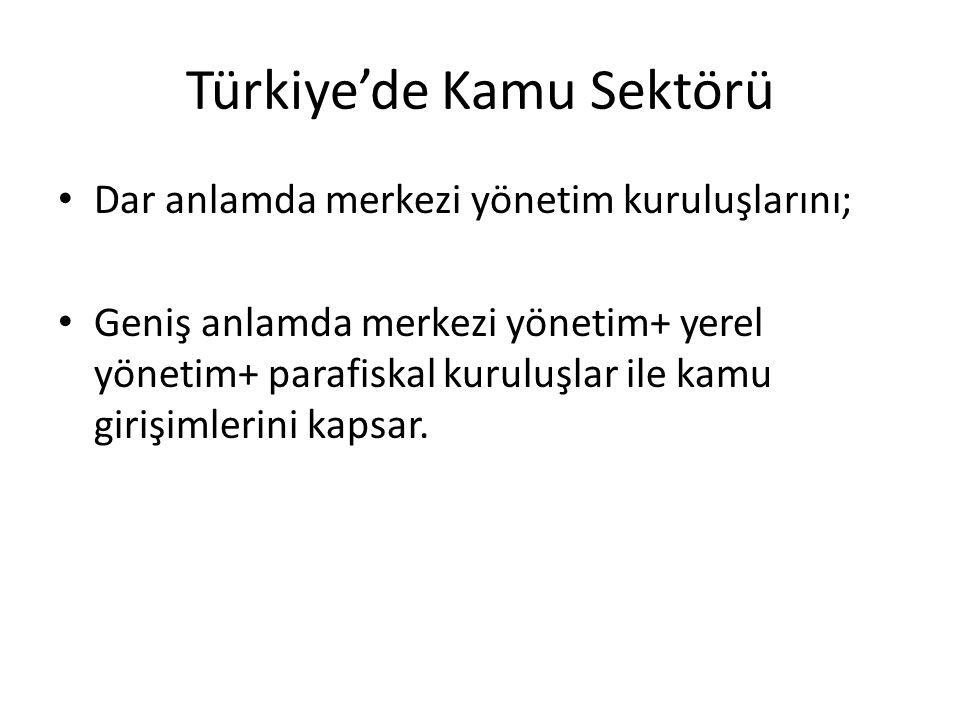Türkiye'de Kamu Sektörü Dar anlamda merkezi yönetim kuruluşlarını; Geniş anlamda merkezi yönetim+ yerel yönetim+ parafiskal kuruluşlar ile kamu girişi