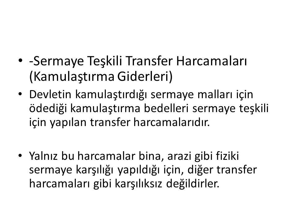 -Sermaye Teşkili Transfer Harcamaları (Kamulaştırma Giderleri) Devletin kamulaştırdığı sermaye malları için ödediği kamulaştırma bedelleri sermaye teş