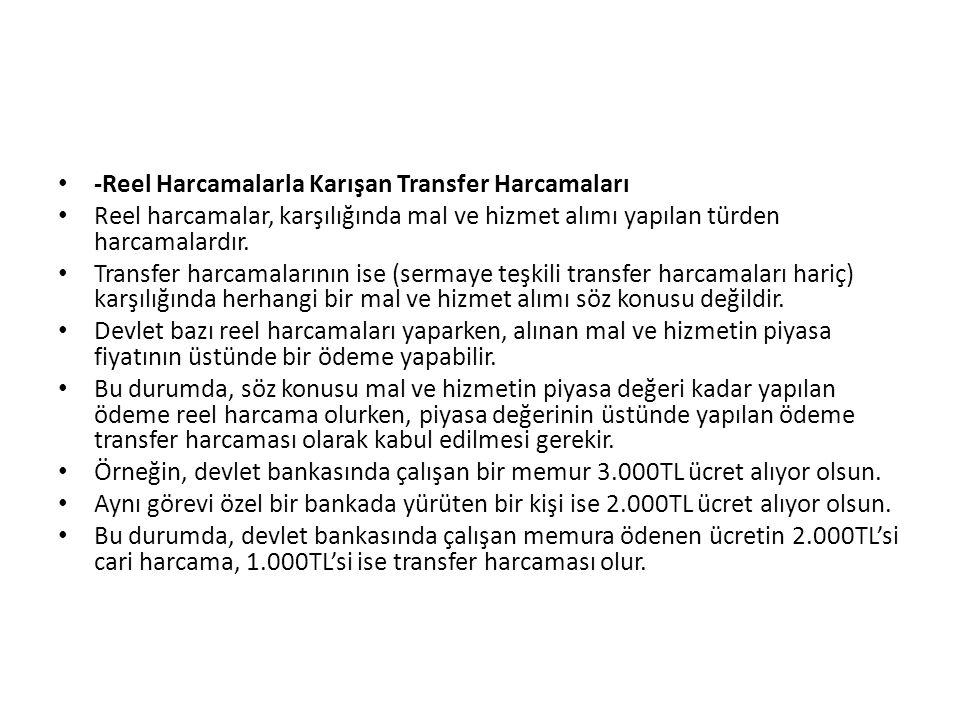 -Reel Harcamalarla Karışan Transfer Harcamaları Reel harcamalar, karşılığında mal ve hizmet alımı yapılan türden harcamalardır. Transfer harcamalarını