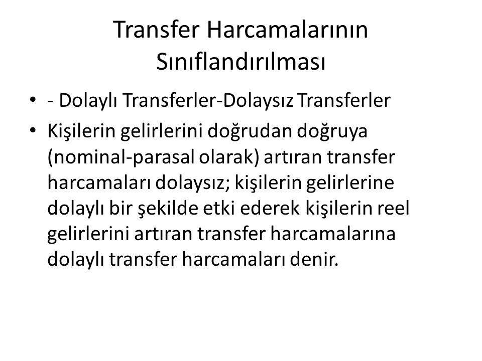 Transfer Harcamalarının Sınıflandırılması - Dolaylı Transferler-Dolaysız Transferler Kişilerin gelirlerini doğrudan doğruya (nominal-parasal olarak) a