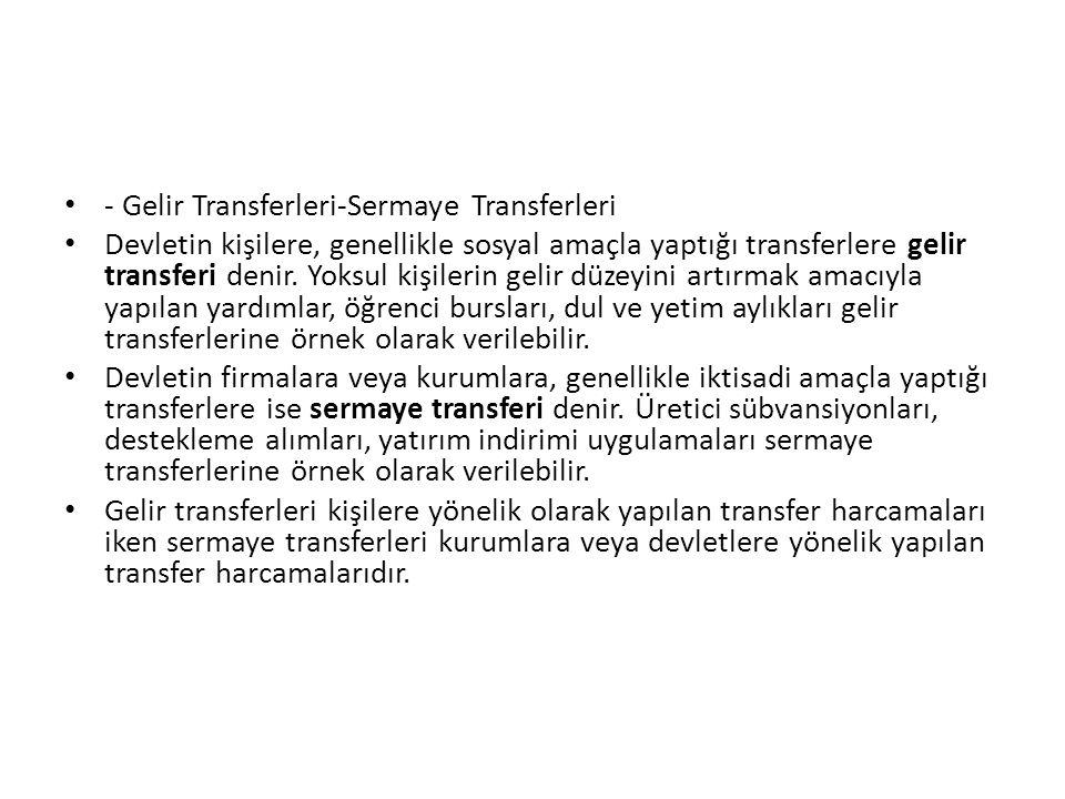 - Gelir Transferleri-Sermaye Transferleri Devletin kişilere, genellikle sosyal amaçla yaptığı transferlere gelir transferi denir. Yoksul kişilerin gel