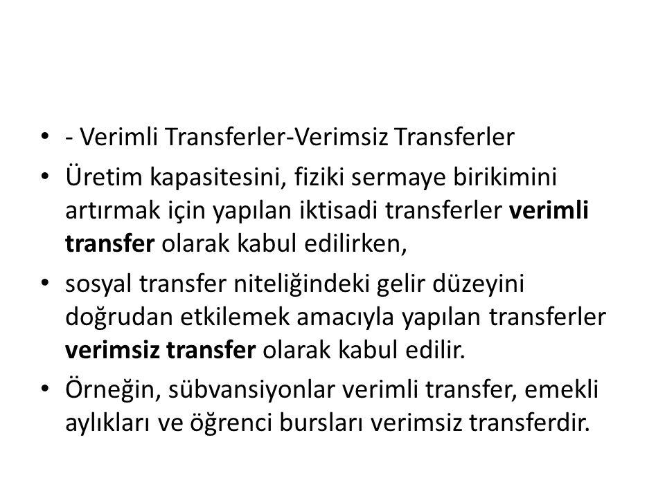 - Verimli Transferler-Verimsiz Transferler Üretim kapasitesini, fiziki sermaye birikimini artırmak için yapılan iktisadi transferler verimli transfer