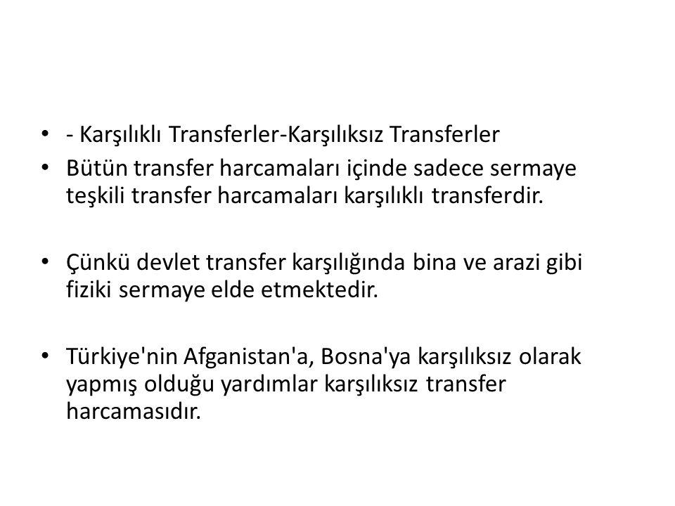 - Karşılıklı Transferler-Karşılıksız Transferler Bütün transfer harcamaları içinde sadece sermaye teşkili transfer harcamaları karşılıklı transferdir.