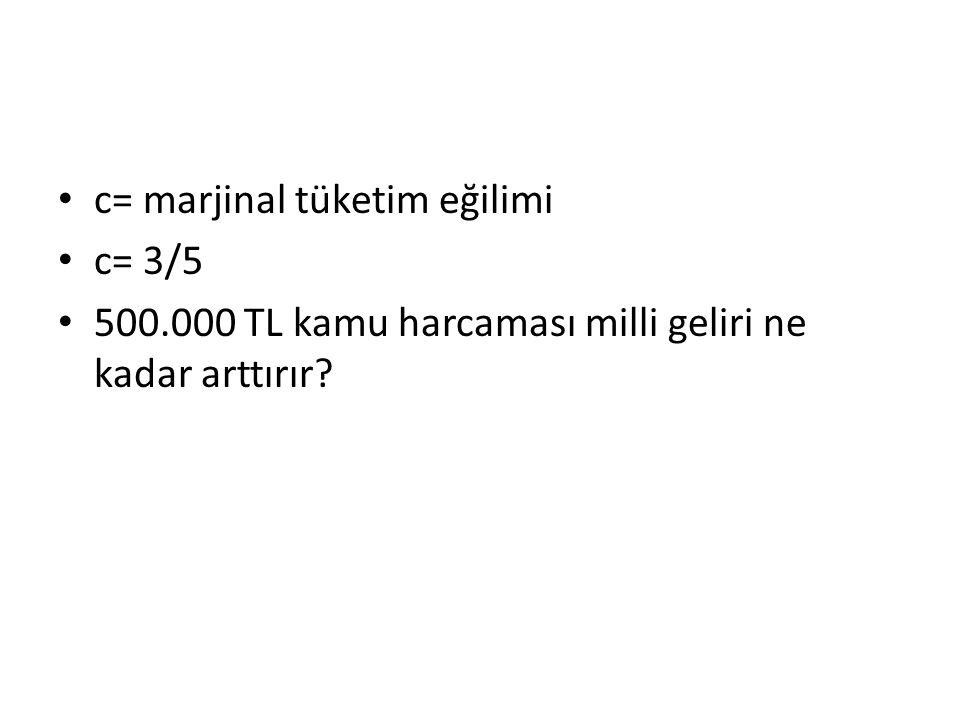 c= marjinal tüketim eğilimi c= 3/5 500.000 TL kamu harcaması milli geliri ne kadar arttırır?