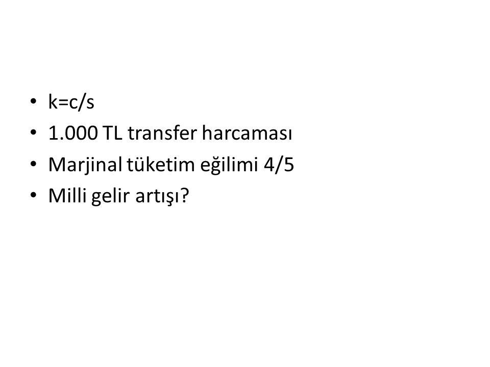k=c/s 1.000 TL transfer harcaması Marjinal tüketim eğilimi 4/5 Milli gelir artışı?