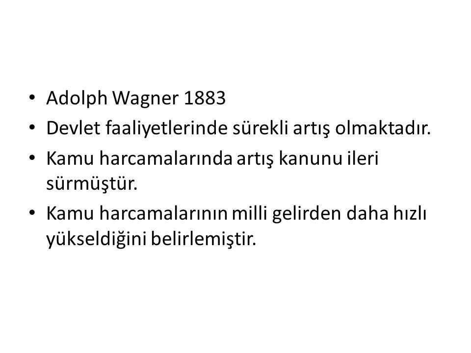 Adolph Wagner 1883 Devlet faaliyetlerinde sürekli artış olmaktadır. Kamu harcamalarında artış kanunu ileri sürmüştür. Kamu harcamalarının milli gelird