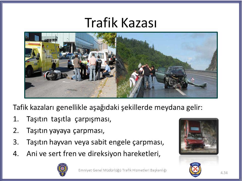 Emniyet Genel Müdürlüğü Trafik Hizmetleri Başkanlığı Trafik Kazası 4.34 Tafik kazaları genellikle aşağıdaki şekillerde meydana gelir: 1.Taşıtın taşıtl