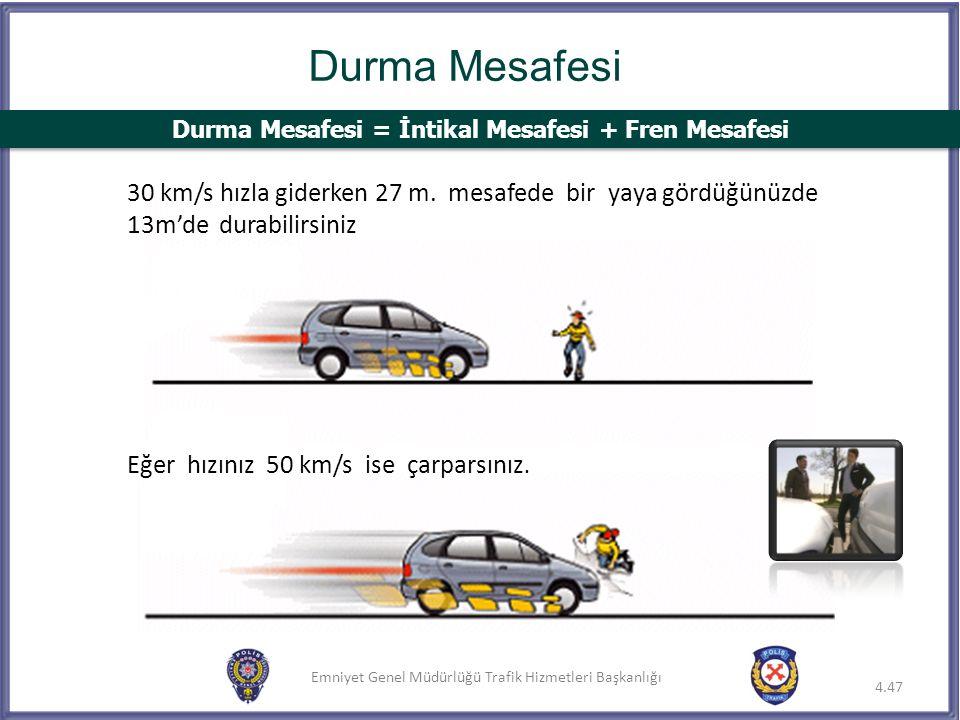 Emniyet Genel Müdürlüğü Trafik Hizmetleri Başkanlığı 4.47 Durma Mesafesi Eğer hızınız 50 km/s ise çarparsınız. 30 km/s hızla giderken 27 m. mesafede b