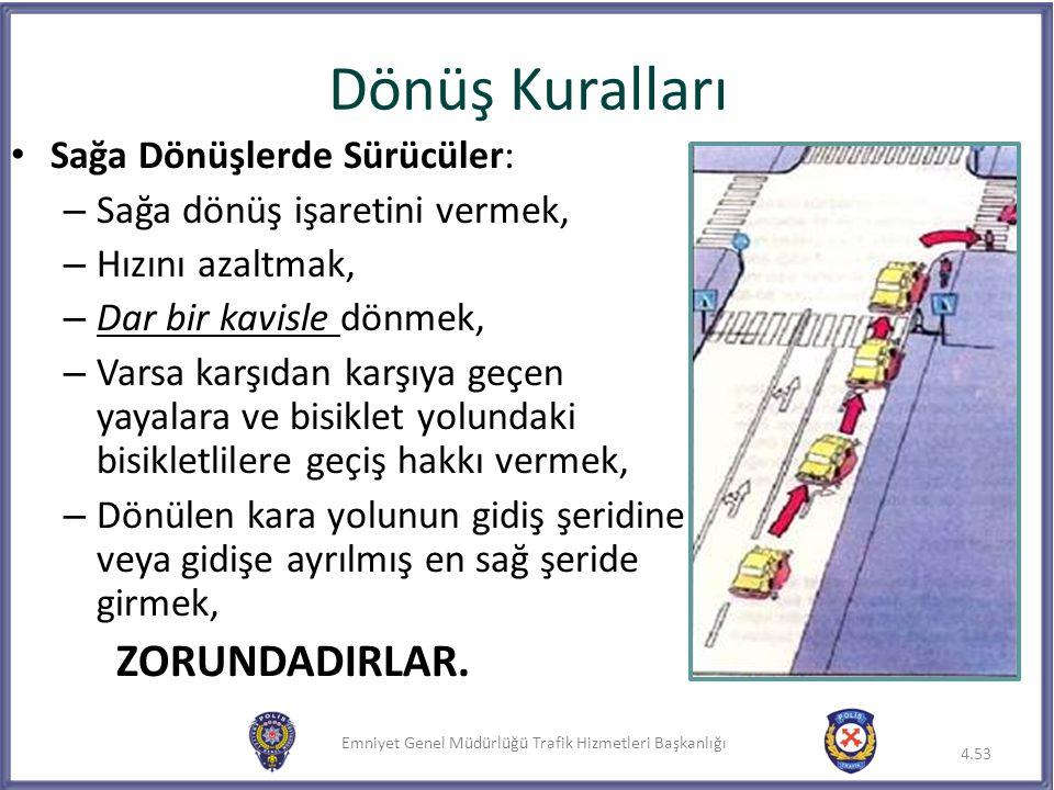 Emniyet Genel Müdürlüğü Trafik Hizmetleri Başkanlığı Dönüş Kuralları Sağa Dönüşlerde Sürücüler: – Sağa dönüş işaretini vermek, – Hızını azaltmak, – Da