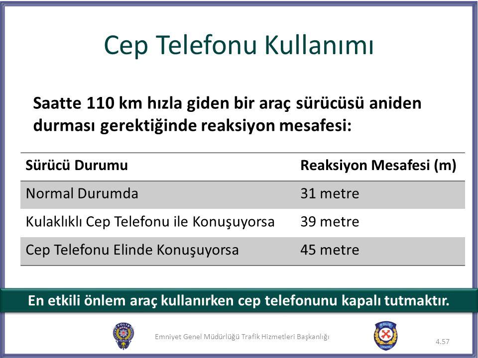 Emniyet Genel Müdürlüğü Trafik Hizmetleri Başkanlığı Cep Telefonu Kullanımı Saatte 110 km hızla giden bir araç sürücüsü aniden durması gerektiğinde re