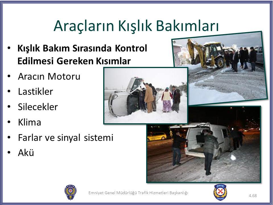 Emniyet Genel Müdürlüğü Trafik Hizmetleri Başkanlığı Kışlık Bakım Sırasında Kontrol Edilmesi Gereken Kısımlar Aracın Motoru Lastikler Silecekler Klima