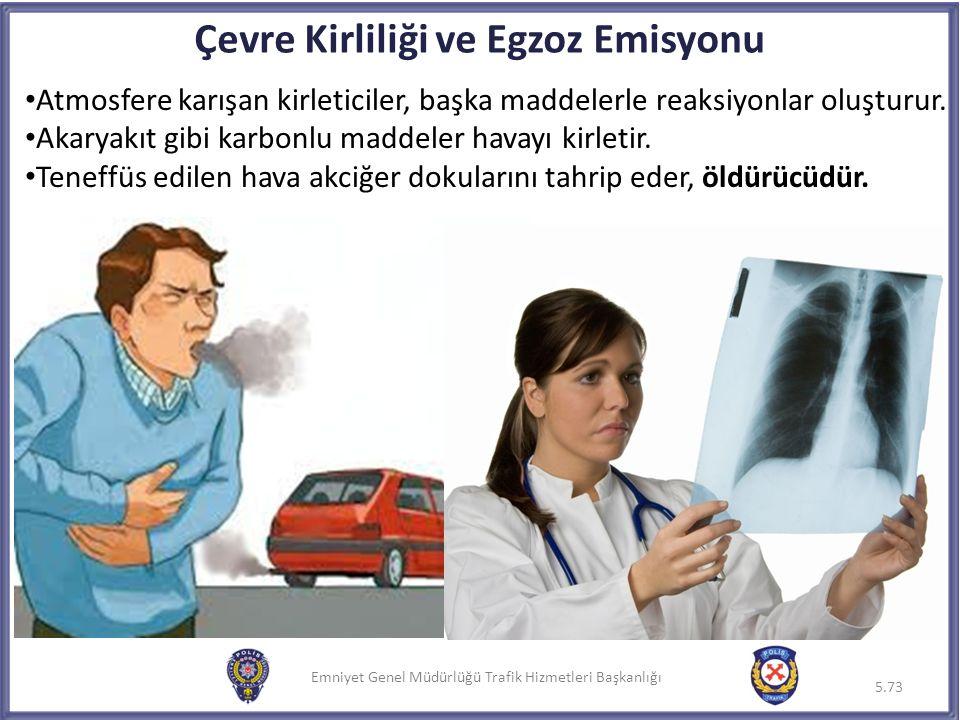 Emniyet Genel Müdürlüğü Trafik Hizmetleri Başkanlığı Çevre Kirliliği ve Egzoz Emisyonu Atmosfere karışan kirleticiler, başka maddelerle reaksiyonlar o
