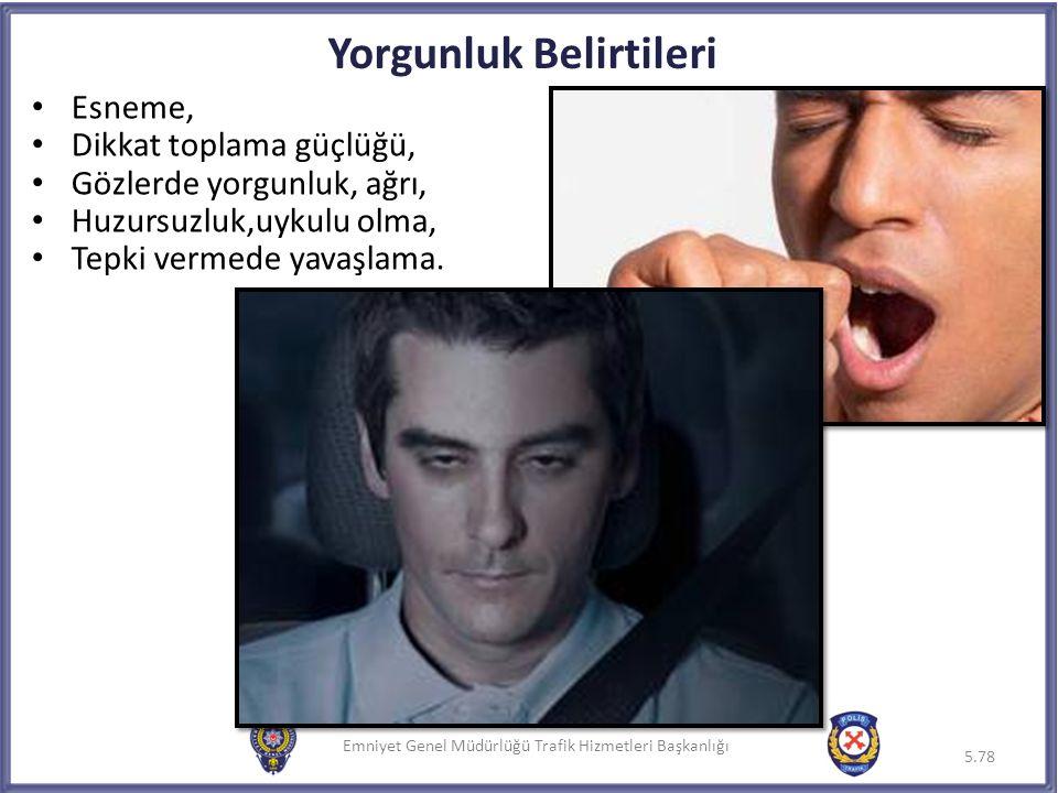 Emniyet Genel Müdürlüğü Trafik Hizmetleri Başkanlığı Yorgunluk Belirtileri 5.78 Emniyet Genel Müdürlüğü Trafik Hizmetleri Başkanlığı5.78 Esneme, Dikka