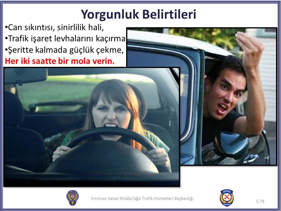 Emniyet Genel Müdürlüğü Trafik Hizmetleri Başkanlığı Yorgunluk Belirtileri Can sıkıntısı, sinirlilik hali, Trafik işaret levhalarını kaçırma, Şeritte