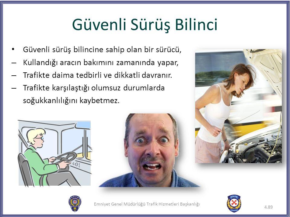 Emniyet Genel Müdürlüğü Trafik Hizmetleri Başkanlığı Güvenli sürüş bilincine sahip olan bir sürücü, – Kullandığı aracın bakımını zamanında yapar, – Tr