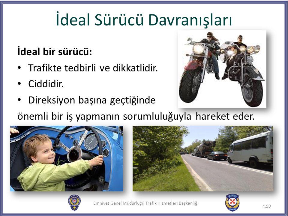Emniyet Genel Müdürlüğü Trafik Hizmetleri Başkanlığı İdeal bir sürücü: Trafikte tedbirli ve dikkatlidir. Ciddidir. Direksiyon başına geçtiğinde önemli