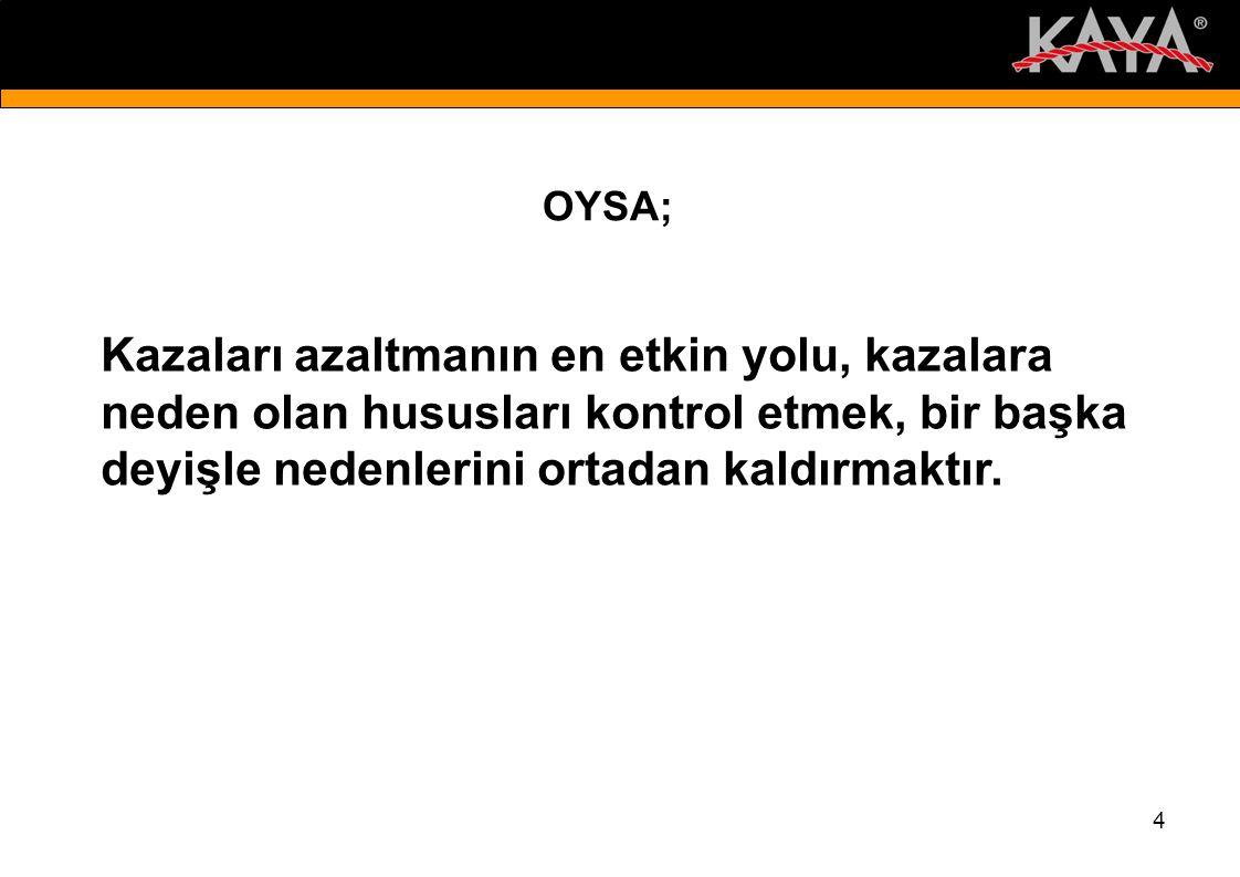 4 OYSA; Kazaları azaltmanın en etkin yolu, kazalara neden olan hususları kontrol etmek, bir başka deyişle nedenlerini ortadan kaldırmaktır.