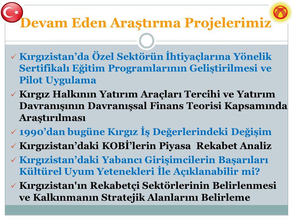 Devam Eden Araştırma Projelerimiz Kırgızistan'da Özel Sektörün İhtiyaçlarına Yönelik Sertifikalı Eğitim Programlarının Geliştirilmesi ve Pilot Uygulam