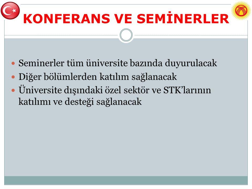 KONFERANS VE SEMİNERLER Seminerler tüm üniversite bazında duyurulacak Diğer bölümlerden katılım sağlanacak Üniversite dışındaki özel sektör ve STK'larının katılımı ve desteği sağlanacak