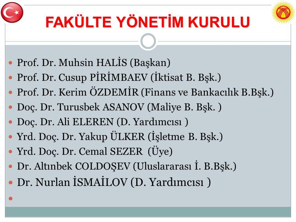 FAKÜLTE YÖNETİM KURULU Prof. Dr. Muhsin HALİS (Başkan) Prof.