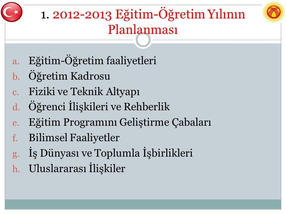 1. 2012-2013 Eğitim-Öğretim Yılının Planlanması a.