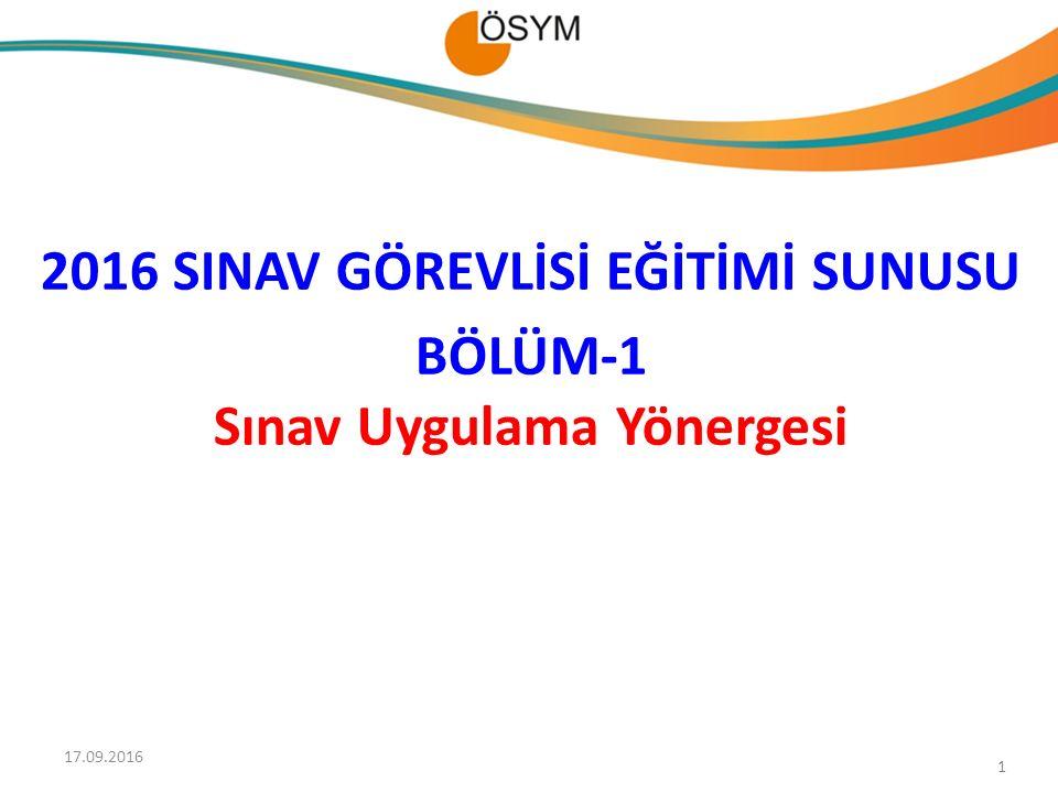 2016 SINAV GÖREVLİSİ EĞİTİMİ SUNUSU BÖLÜM-1 Sınav Uygulama Yönergesi 1 17.09.2016