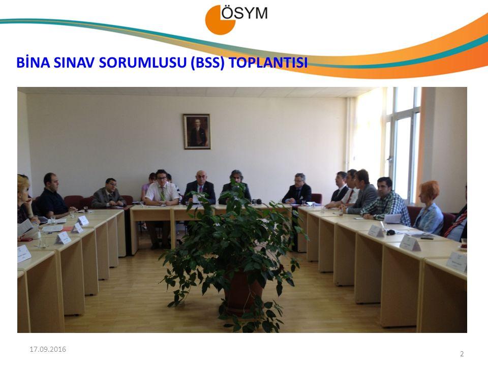 BİNA SINAV SORUMLUSU (BSS) TOPLANTISI 17.09.2016 2