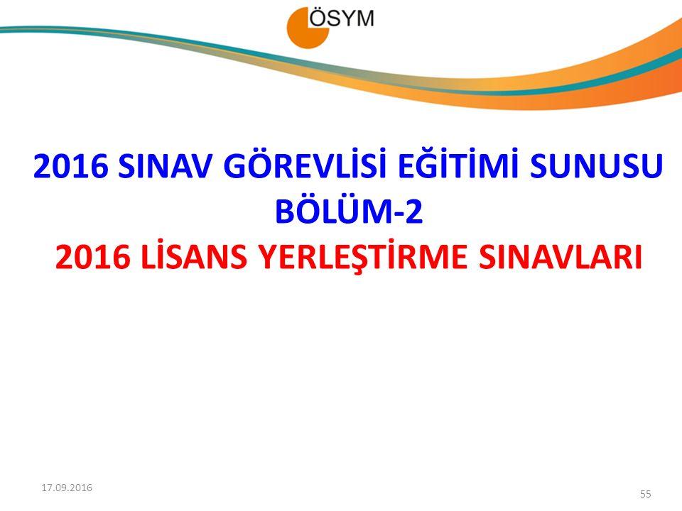2016 SINAV GÖREVLİSİ EĞİTİMİ SUNUSU BÖLÜM-2 2016 LİSANS YERLEŞTİRME SINAVLARI 55 17.09.2016