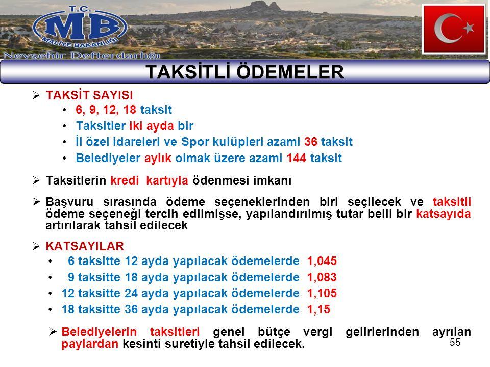55 TAKSİTLİ ÖDEMELER  TAKSİT SAYISI 6, 9, 12, 18 taksit Taksitler iki ayda bir İl özel idareleri ve Spor kulüpleri azami 36 taksit Belediyeler aylık