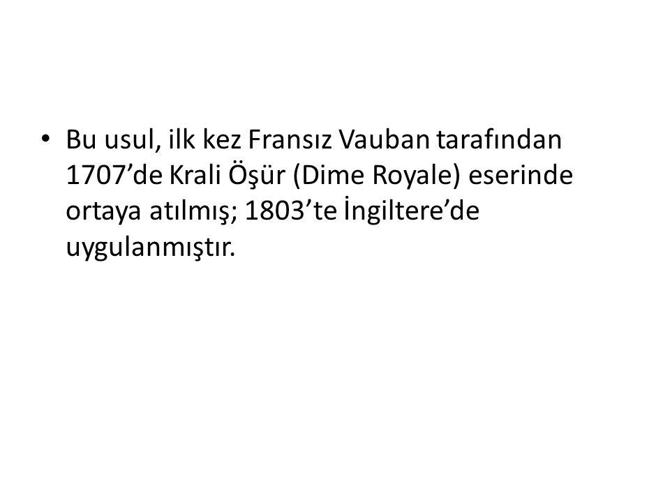 Bu usul, ilk kez Fransız Vauban tarafından 1707'de Krali Öşür (Dime Royale) eserinde ortaya atılmış; 1803'te İngiltere'de uygulanmıştır.