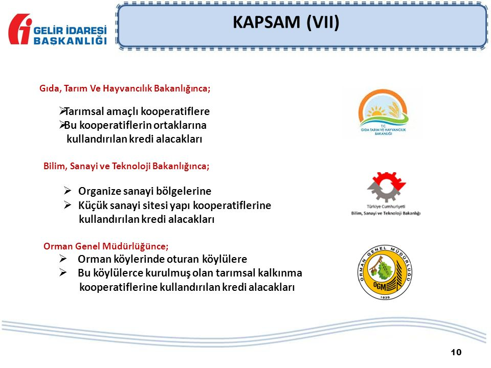 10 KAPSAM (VII) Gıda, Tarım Ve Hayvancılık Bakanlığınca;  Tarımsal amaçlı kooperatiflere  Bu kooperatiflerin ortaklarına kullandırılan kredi alacakl