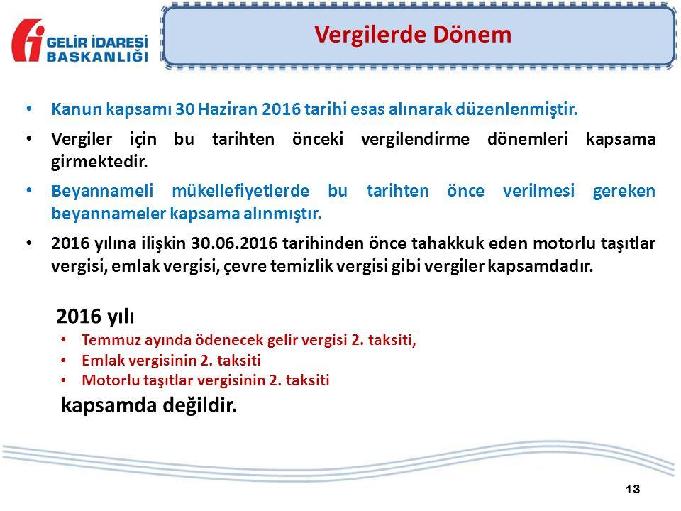 13 Kanun kapsamı 30 Haziran 2016 tarihi esas alınarak düzenlenmiştir.