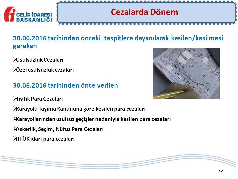 14 30.06.2016 tarihinden önceki tespitlere dayanılarak kesilen/kesilmesi gereken  Usulsüzlük Cezaları  Özel usulsüzlük cezaları 30.06.2016 tarihinde