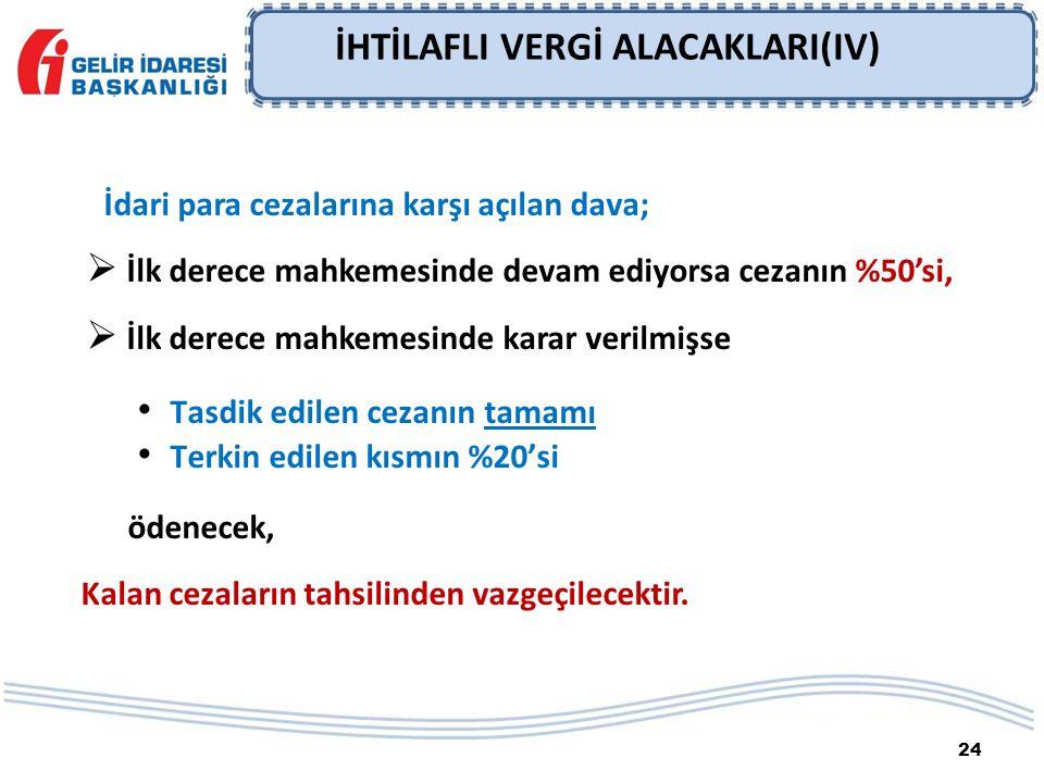 24 İHTİLAFLI VERGİ ALACAKLARI(IV) İdari para cezalarına karşı açılan dava;  İlk derece mahkemesinde devam ediyorsa cezanın %50'si,  İlk derece mahke