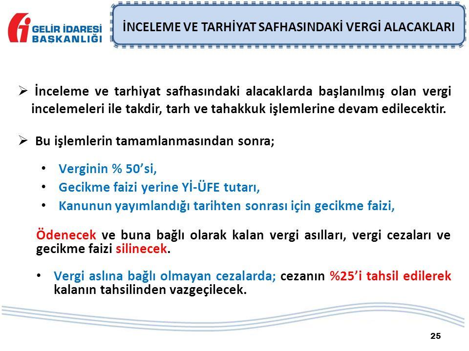 25 İNCELEME VE TARHİYAT SAFHASINDAKİ VERGİ ALACAKLARI  İnceleme ve tarhiyat safhasındaki alacaklarda başlanılmış olan vergi incelemeleri ile takdir,
